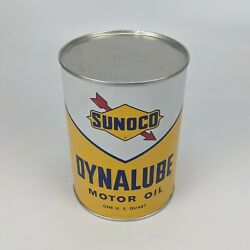 Sunoco Dynalube Sae 10w Hd 1 Quart Oil Can 1960 - Partial Full Vintage Usa 10