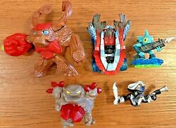 Lot Of 5 Activision Figurines, Sky Landers, Gill Grunt, Hot Streak Superchargers