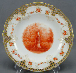 Kpm Berlin Hand Painted Queen Louise Statue Rust Roses And Gold Reticulated Plate