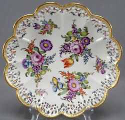 Eugene Clauss Old Paris Porcelain Floral And Gold Reticulated Bowl C. 1868 - 1887