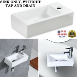 Small Wall Mount Rectangle Sink White Porcelain Ceramic Vessel Sink Right Hand
