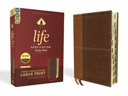 Niv Life Application Study Bible/large Print Third Edition-brown Leathersoft