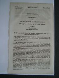 Government Report 1834 Citizens Bradford County Pa Restoring Public Deposits