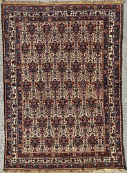 Antique Collectible Abadeh Rug, Handmade Floral Vase Oriental Carpet 1920