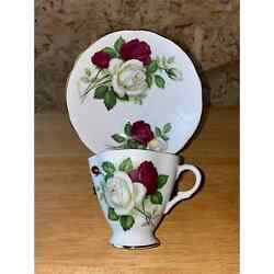 """Clarence """"white Rose"""" Bone China Teacup And Saucer"""