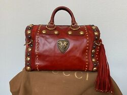 Sold Out Very Rare Large Red Babouska Studded Boston Hand Bag