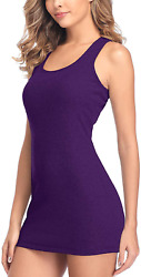 V For City Women Extra Long Tank Top With Shelf Bra Soft Ribbed Undershirts Race