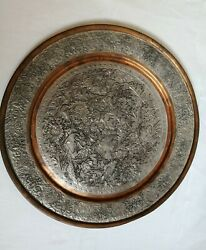 Antique Silver Tone And Copper Persian Qajar Tray Plate Birds Engraved