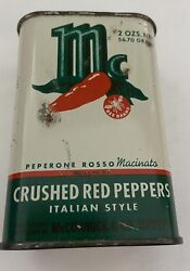 Vintage Mccormick Crushed Red Pepper Flakes Spice Tin Rare
