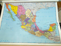 Vintage Rand Mcnally Pull Down Classroom School Wall Map 1963 - Two Sided Mexico