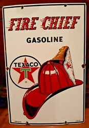 Texaco Fire Chief Advertising Sign Porcelain Oil And Gas Pump Plate