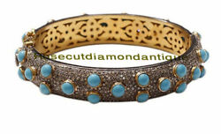 Estate Inspired By 925 Silver Antique Rose Cut 8.78ct Diamond Turquoise Bracelet