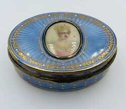 Antique Magnificent Early Sterling Silver Enamel Guilloche Painted Portrait Box