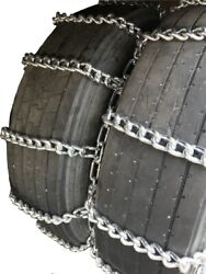Tirechain.com 11-24.5 11 24.5 Extra Heavy Duty Mud Dual Tire Chains Set Of 2