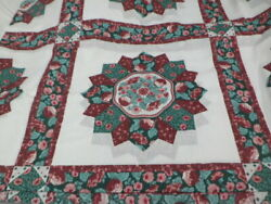 Cheater Quilt Tops 90x108 Salem Star In Burgundy Ship Included
