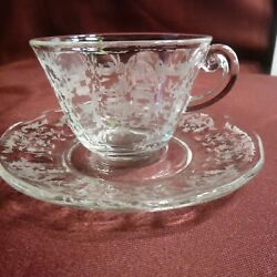 Antique Cup And Saucer, Fostoria, Navarre, Crystal - Mint