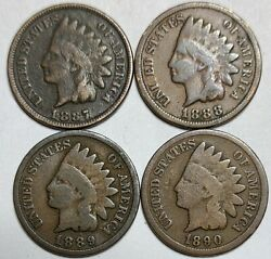 Indian Head Penny Lot Of 41887-1888-1889 And 1890 Avg Circ Free Shipping919