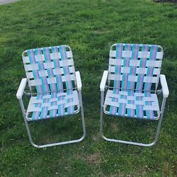 Set Of 2 Vintage Folding Aluminum Chair Webbed Patio Lawn Chairs Pink Blue White