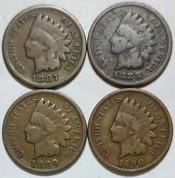 Indian Head Penny Lot Of 41887-1888-1889 And 1890 Avg Circ Free Shipping912
