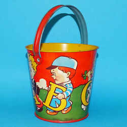 Vintage Us Metal Toy Co Alphabet Sand Pail Tin Lithograph Children Carrying Abcd