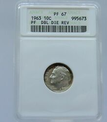 1963 P Roosevelt Proof Silver Dime Variety Anacs Pf67 Ddr - F5673
