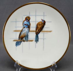 Minton Hand Painted 3 Blue Waxbill Birds And Gold 9 5/8 Inch Dinner Plate C. 1888