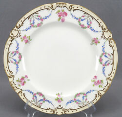 Set 4 Minton Pink Rose And Blue Forget Me Not Garlands And Gold 10 1/8 Dinner Plates