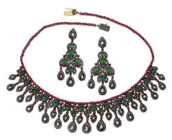 Antique Rose Cut Diamond 12.28ct Sterling Silver Emerald Ruby Polki Necklace Set