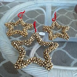 Set Of 3 Jingle Bell Star Ornaments Nwt Made In India