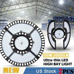 2x 100w Ultra-thin Led High Bay Light Deformable Mining Lamp Warehouses Garages