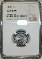1899 Indian Head Cent Ngc Ms 64 Bn Gorgeous Luster Light Toned Coloring