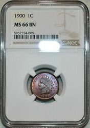 1900 Indian Head Cent Ngc Ms 66 Bn Beautiful Toned Finest Known Worldwide