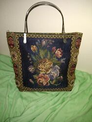 Vintage Tapestry Handbag Purse Floral💠 with Lining and One Inside Zipper Pocket