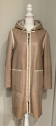 Brunello Cucinelli Hooded Reversible Shearling Fur Coat Jacket It44 Nwt Rare