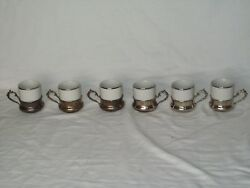 6 Vintage Monopoli Small White Porcelain Cups With 6 Silver Cup Holders