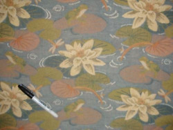 SUNBELLA Blue Floral LILY PAD Outdoor Tapestry Upholstery Fabric