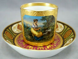 19th Century Royal Vienna Style Hand Painted Woman And Sheep Coffee Cup And Saucer