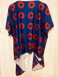 Phish Fishman Red Donut Womens S/m Kimono Blue And Red Preowned