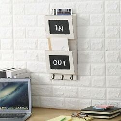 Vintage White Wall-mounted 2-slot Mail Sorter Organizer W/ Chalkboard And Key Hook