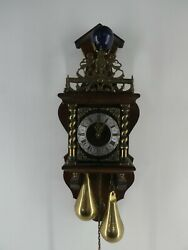 Antique Nu Elck Syn Sin Dutch Chiming Wall Clock Made Oin Holland Wood/brass E18