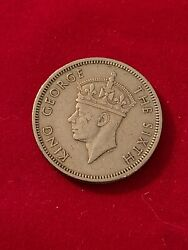 1951 Hong Kong .50 Cents Security Edge King George The Sixth- Firstandlast Coin