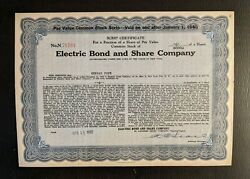 Electric Bond And Share Company Stock No N71761 6 600ths Of Share 1932