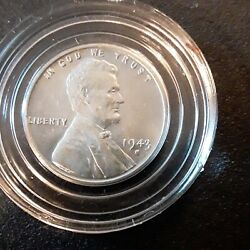Rare 1943 Silver Steel Wheat Penny Sticks To Magnets Uncirculated
