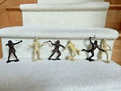 """Marx Plastimarx 3 Cowboy And 3 Indian Figures 6"""" Made In Mexico Vintage"""