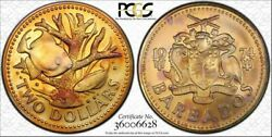 1974-fm Barbados Two Dollars Bu Matte Pcgs Ms68 Color Toned Only 2 Graded Higher