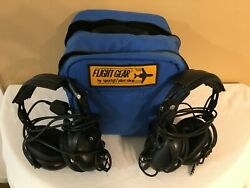 Pair Of Flightcom Aviation Headsets And Carrying Case