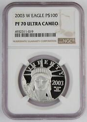 2003 W 100 1 Oz 9995 Platinum American Eagle Proof Coin Ngc Pf70 Uc