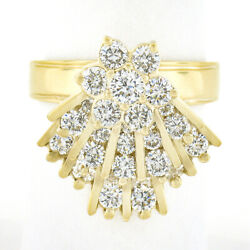 14k Gold 2.30ctw Diamond Cluster W/ Mechanical Spinning Fan Unique Cocktail Ring