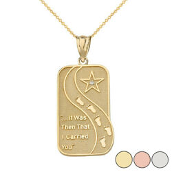 10k Solid Yellow Gold Diamond Footprints In The Sand Poem Pendant Necklace