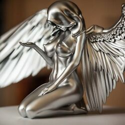 Angel Wings Resin Crafts Silver Figurines And Miniatures Desktop Home Ornaments